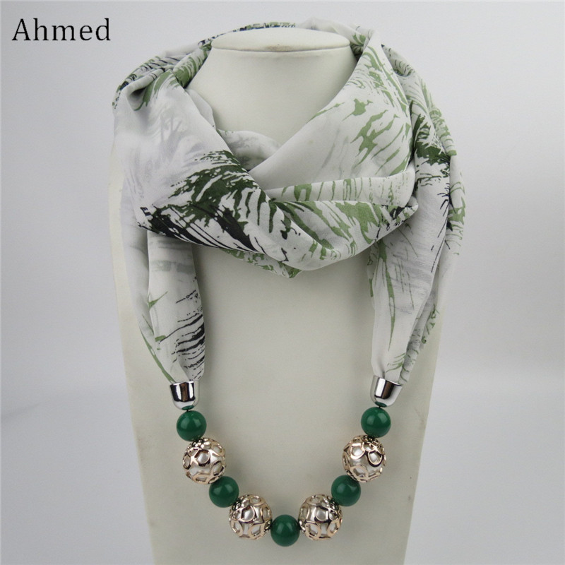 Ahmed New Design Printing Flower Pattern Chiffon Beads Scarf Necklace For Women Maxi Statement Necklaces Fashion Jewelry chic ethnic paisley pattern dark blue voile scarf for women