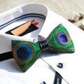 Frete Grátis nova moda 2016 casuais masculinos Dos Homens Handmade peacock feather bow tie FESTA de casamento presente do partido Europa promoção