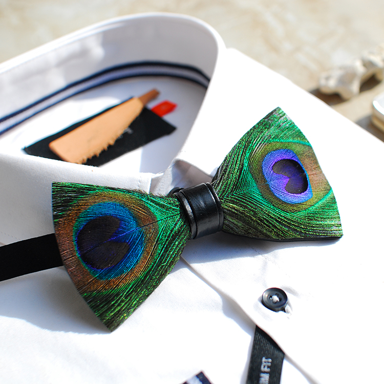 New Free Shipping fashion 2016 casual Men's male Handmade peacock feather bow tie wedding gift PARTY party Europe Headdress