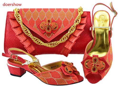 doershow Watermelon red Italian Shoes With Matching Bags African Women Shoes and Bags Set For Prom Party Summer Sandal!BF1-31 doershow latest pattern african shoes and matching bags with rhinestones good quality italian shoes and bags for party hzl1 15