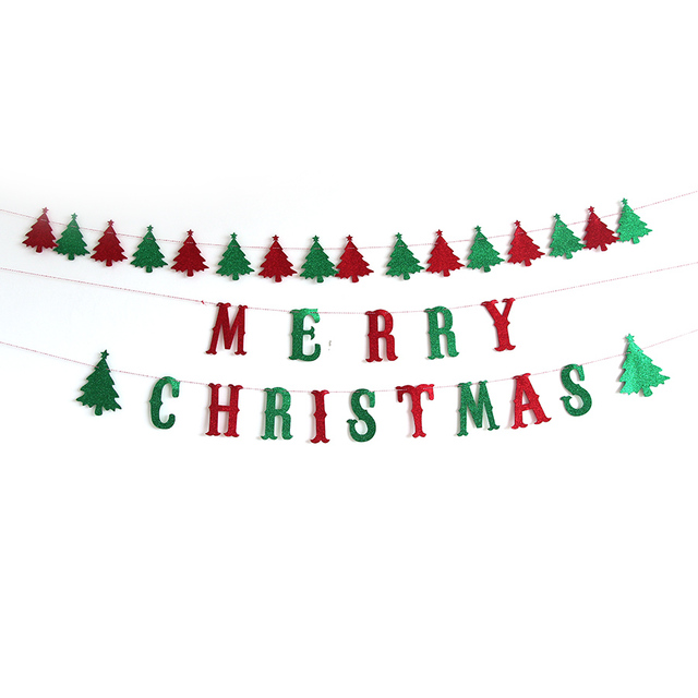 Christmas Banners.Us 8 15 Merry Christmas Banners Green Red Letter Hanging Flag Christmas Decorations For Home Door Eva Bling Shinny Party Flags St003 In Banners
