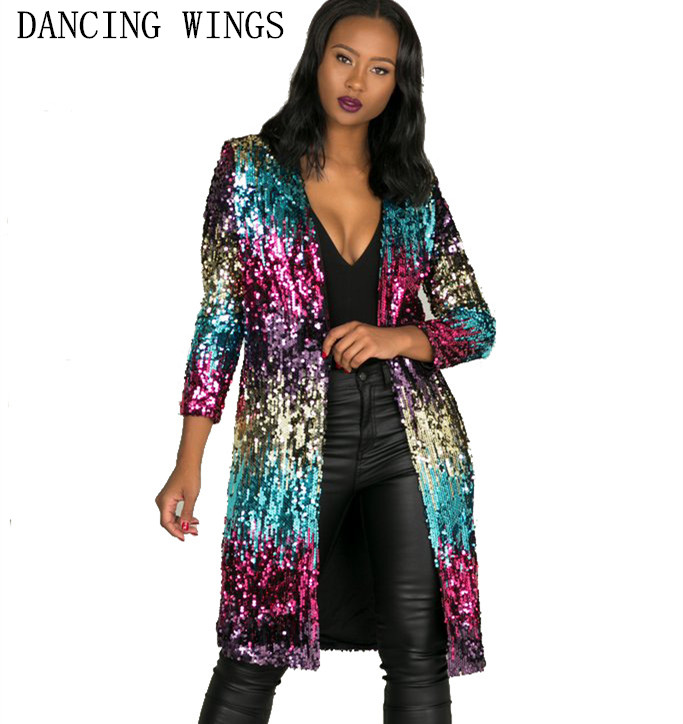 Autumn Fashion Colorful Shiny Sequin Cardigan Trench Coat Loose Casual Women Long Coat