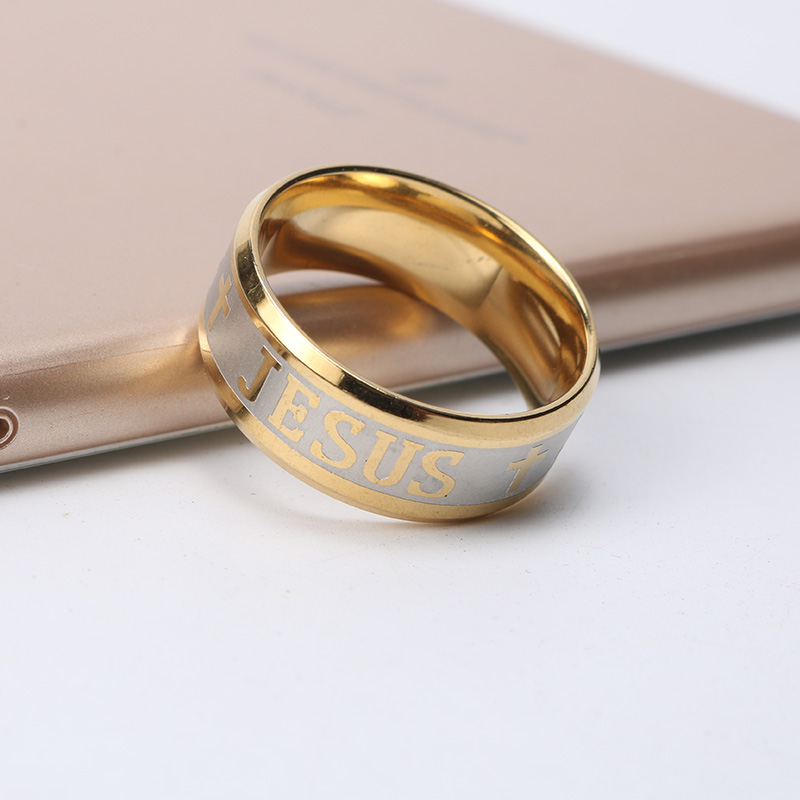 6mm Stainless Steel Finger Ring For man Woman Jesus Cross Prayer Rings Religious Jewelry Bible Wedding Bands for Lovers Gift