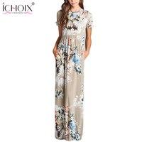 ICHOIX Femmes Imprimé floral Longue Mousseline de Soie Robes Casual Élégant Russe Maxi Robe Féminine FloorLength robe 2XL Plus La Taille Vêtements