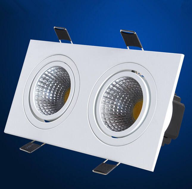 Free shipping Double 2x7W Dimmable COB Ceiling downlight Recessed Cabinet Lamp 85-245V  With led driver