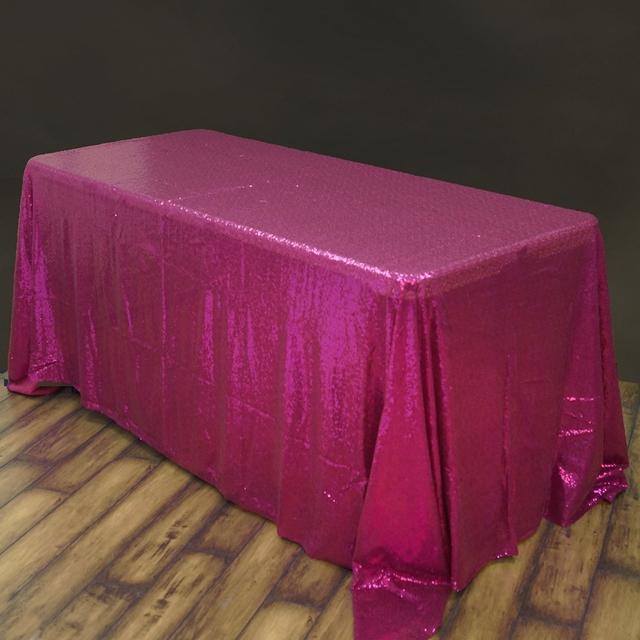 50inch By 80inch Fuchsia Sequin Table Cloth Popular Sequin TableCloth  Wholesale Sequin Linens Sparkly Sequin Overlays