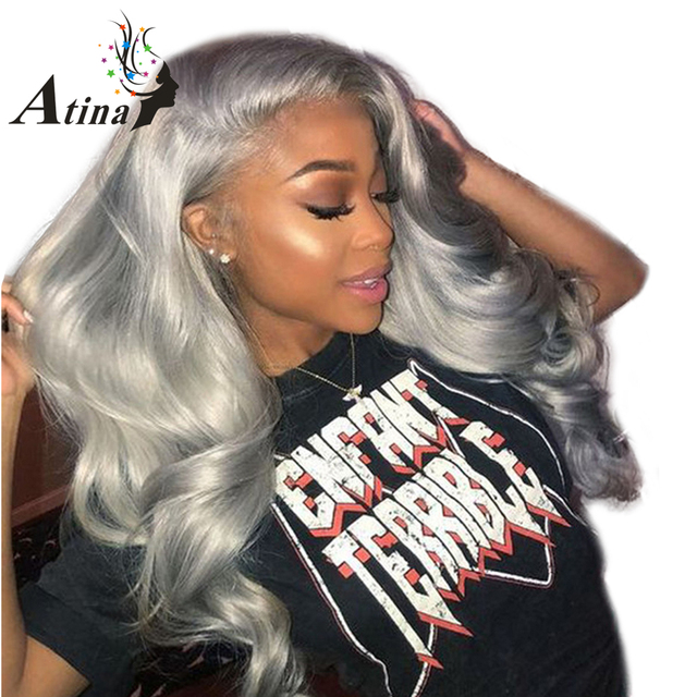 Grey Color del pelo humano del frente del cordón pelucas 150% densidad virginal brasileño Remy pelo ondulado peluca Frontal de encaje sin cola con arrancado