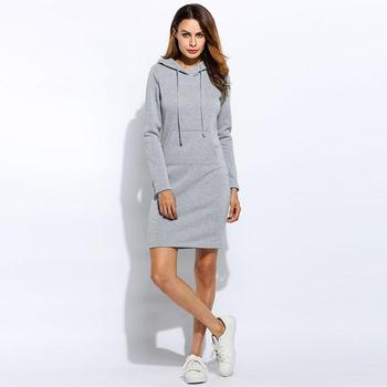 AiiaBestProducts - Fashion Hooded Full Drawstring Dress Sweatshirt Size