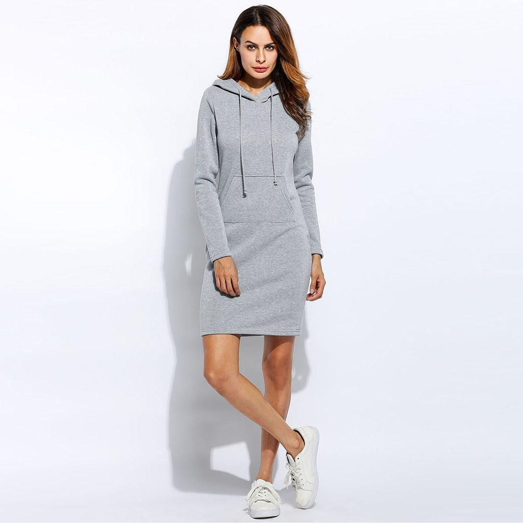 Vestidos de mujer fleece Fashion con capucha vestido con cordón completo sudadera tamaño vestido 2018 Vestidos más sudaderas con capucha mangas invierno Mujer