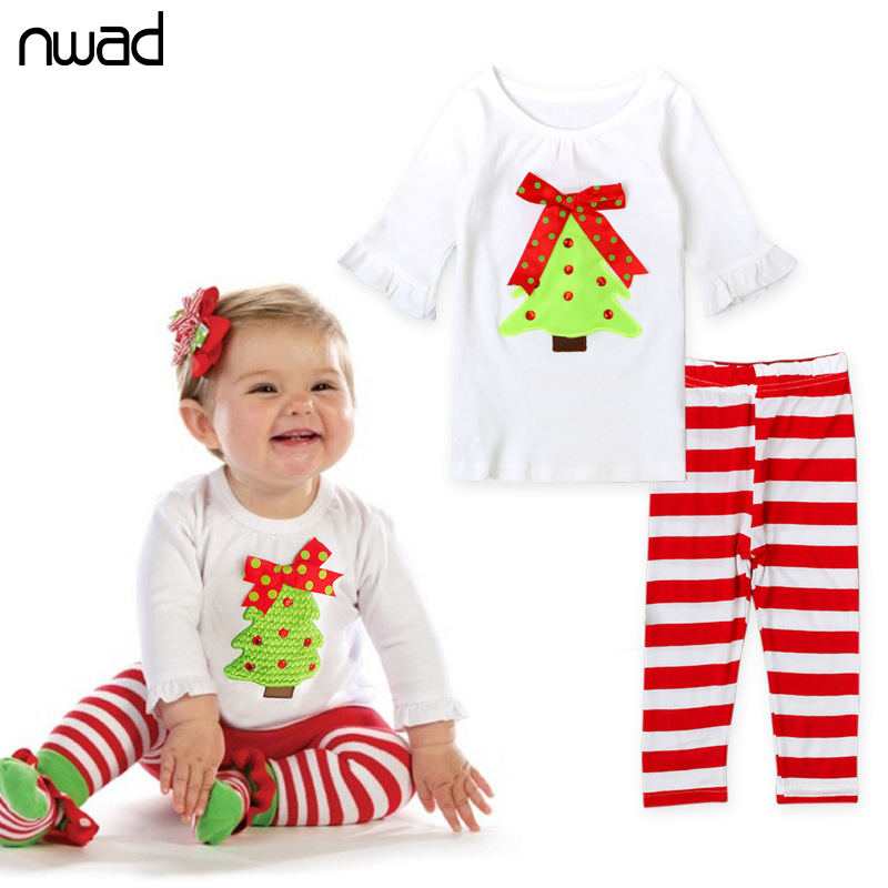 NWAD Spring Autumn Baby Girl Clothes Set Children Christmas Suit For Toddler Girls Bow Long Sleeve Top +Striped Pants FF153