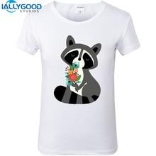 2017 New Summer Cute Animal Raccoon Fox Sloth Print 3D T-shirts Short Sleeve Slim White T shirts Casual Women Tops S404