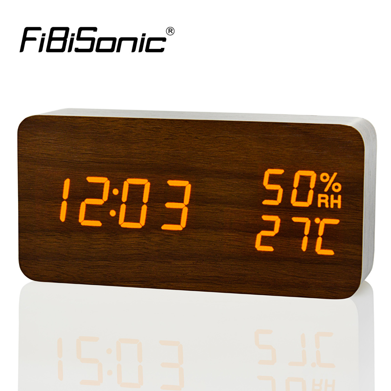 FiBiSonic Modern LED Alarm Clock,Despertador Temperature Humidity Electronic Desktop Digital Table Clocks-in Alarm Clocks from Home & Garden
