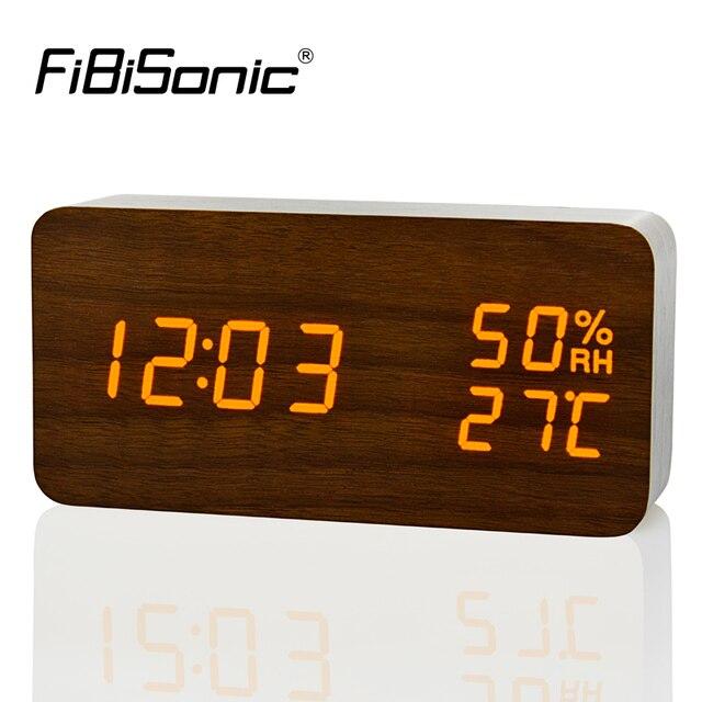 FiBiSonic Modern LED Alarm Clock,Despertador Temperature Humidity  Electronic Desktop Digital Table Clocks
