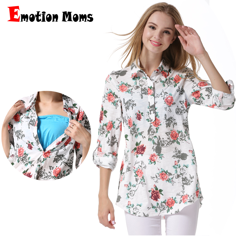 Spring Long Sleeve Cotton Maternity Blouse Nursing Breastfeeding Tops Pregnancy Shirt Feeding Clothing