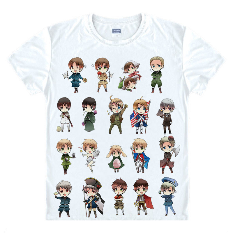 Hetalia Axis Powers T-Shirt Axis Powers Shirt High Quality T-Shirts anime gift cute gift Women Printed Shirt christmas cosplay A