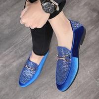 2019 Classic Italy Men Dress Shoes Plus Size Woven Suede Leather Shoes Designer Driving Flats Shoes Wedding Party Banquet Shoes