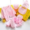 10 pçs/set Presente Do Bebê Recém-nascido Conjunto Roupas de Algodão Infantil Do Bebê Da Menina Conjuntos de Roupas menino Calças Leggings Conjunto Bebê Recém-nascido Cap Babadores Terno