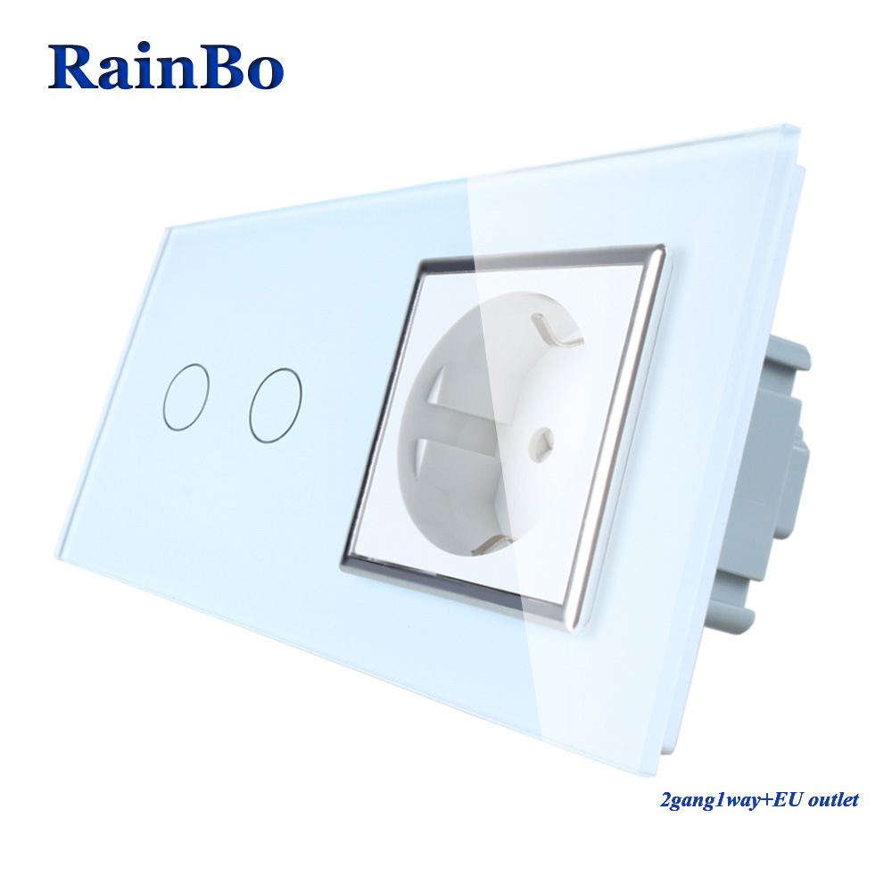 RainBo Brand Luxury Touch Screen Control Tempered crystal Glass Panel Wall Light Touch Switch Socket Wall Socket A29218ECW/B rainbo touch screen control tempered crystal glass panel wall light touch switch socket wall power usb socket a29118e2uscw b