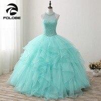 Custom Made Princesa Sweet Halter Neck Luxury Crystal Vestidos De Festa Beading Ruffles Ball Gown Prom Dresses Prom Party Gowns