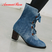 ANMAIRON Denim Western Ankle Boots for Women Square Heel Pointed Toe Winter Patchwork Short Plush Cross-tied Flock