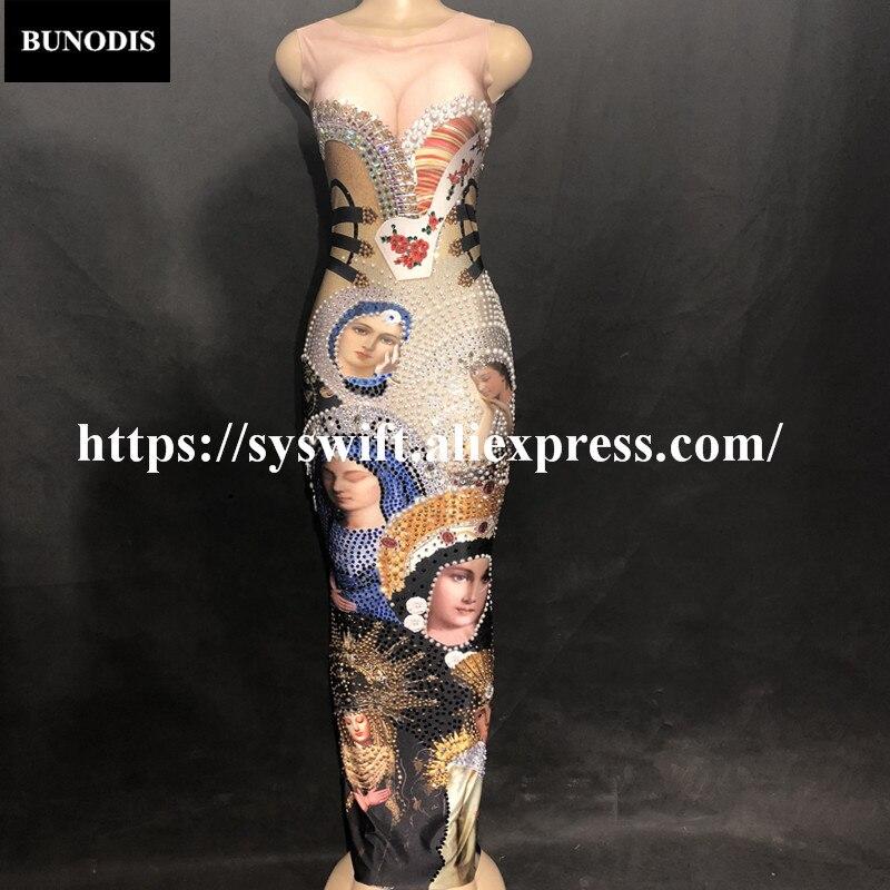 BU25201 Vente Chaude Vierge Marie Sexy Sans Manches Bling Longue Jupe 3D Imprimé Coloré Mousseux Fit Cristaux Discothèque Parti Banquet