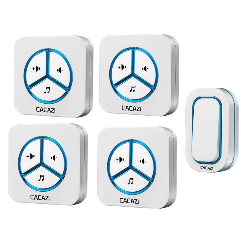 CACAZI doorbell 280M remote AC 110-220V US/EU/UK Plug Wireless Door bell 1 waterproof button+4 receivers 48 rings door chime cacazi a9 3 ac 75 250v wireless doorbell 1 waterproof button 3 receivers 52 ringtones 4 volume 300m remote electronic doorbell
