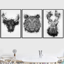Bison Deer Tiger Wall Art Canvas Painting Watercolor Nordic Posters And Prints Black White Pictures For Living Room Salon