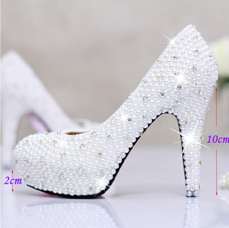 8be20b93f71ce Luxury 4Inches high heel lady s formal Jeweled Women s full Pearls Beaded  Bridal Evening Wedding Prom Party Bridesmaid shoes-in Women s Pumps from  Shoes on ...
