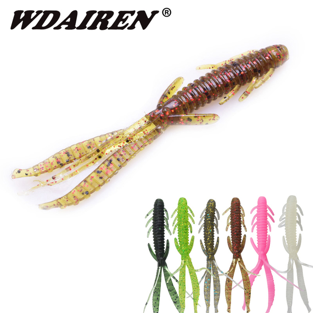 12pcs/lot 75mm 1.8g shrimp smell worm Silicone soft Lure jig Wobblers Artificial Rubber Carp Bass Lures Peche fishing Tackle