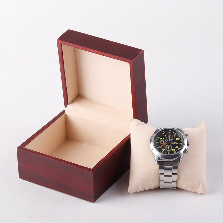 High Quality Wooden Red Painted Single Watch Storage Box Bracelet Packaging  Case Travel Jewelry Boxes Portable