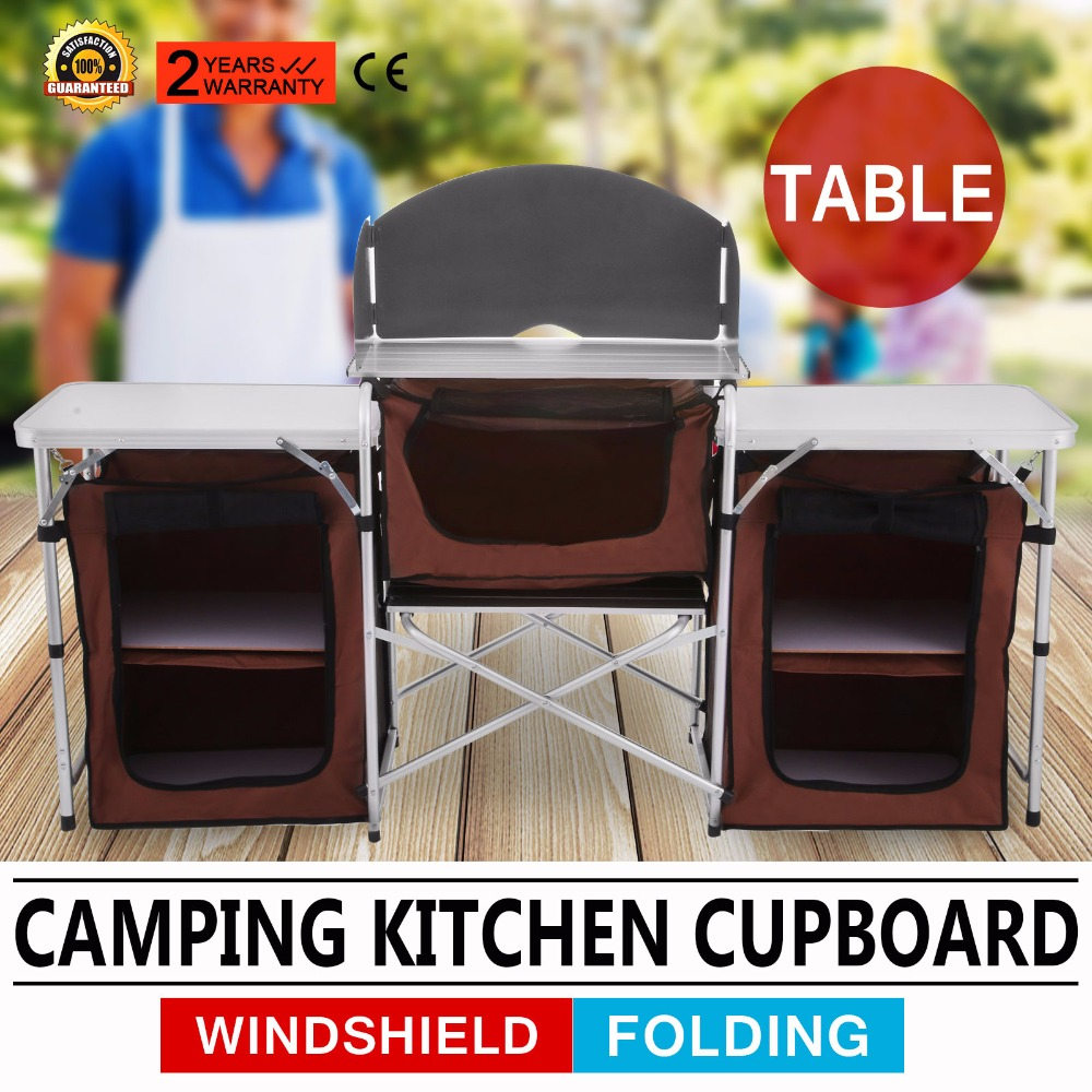 Camping Kitchen Cooking Table Food Prep Food Storage Adjustable Folding