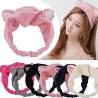 Women Korean Style Cute Cat Ears Elastic Face Wash Headdress Headband Hair Band