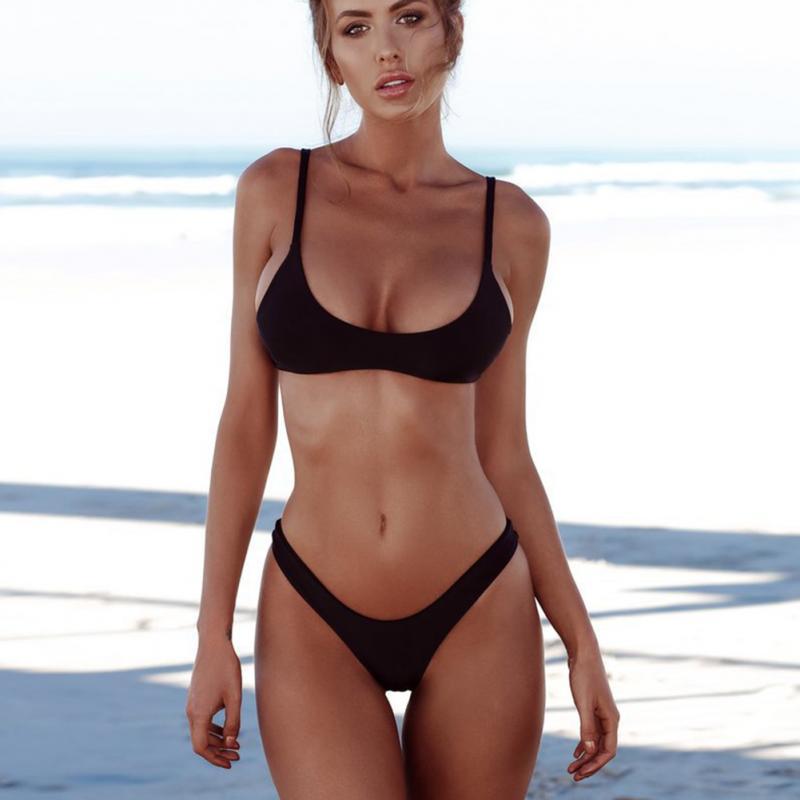 HTB1RbbNX75E3KVjSZFCq6zuzXXab 2019 New Summer Women Solid Bikini Set Push-up UnPadded Bra Swimsuit Swimwear Triangle Bather Suit Swimming Suit biquini