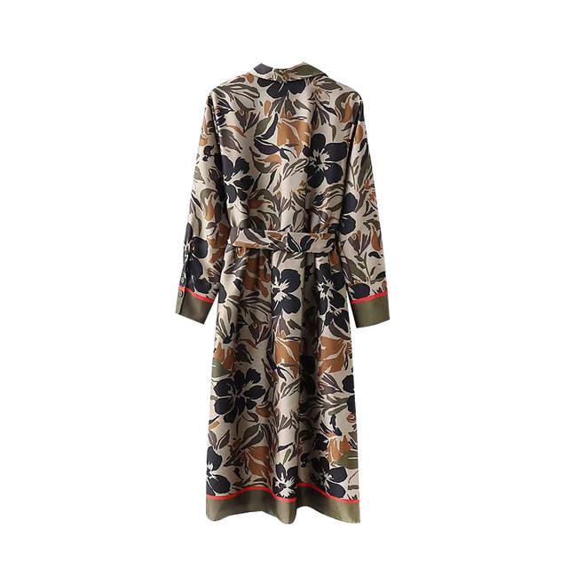 77010ed87efc9 Wonder 2018 new Vintage Floral Print Sashes Pleated Midi Dress Lapel Collar  Side Vents Ladies Dresses Casual Vestidos Mujer