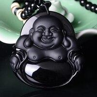 Belwide natural Obsidian Maitreya Buddha Pendant men and women laugh