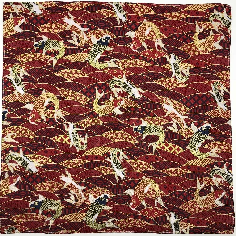 Japanese Style Big Handkerchief Cotton 100% / Furoshiki Good Luck Koi Fish Bronzing Printed 52cm Wholesale