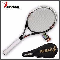 Super Quality 1 pcs Carbon Fiber Tennis Racket Racquets Equipped with free Bag for match game Training