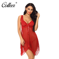 COLLEER Women Sexy Lingerie V Neck Ruffled Bra Set Asymmetrical Lace Nightgown With G String Plus