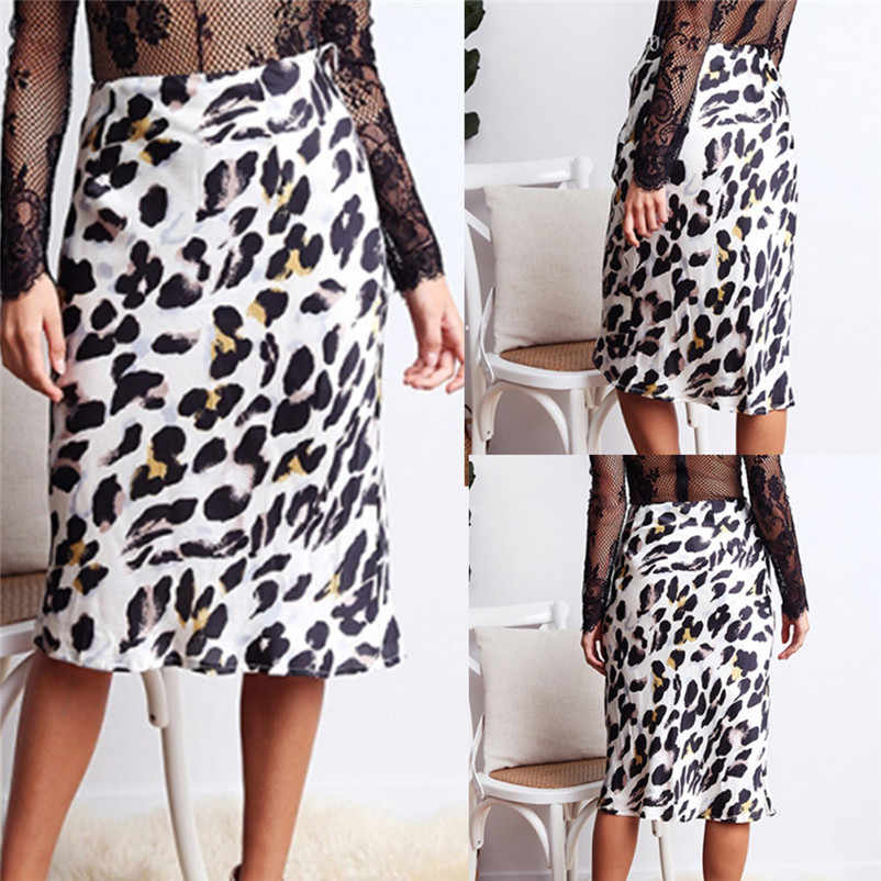 85bc46ab1 NEW Fashion 2018 style skirts womens Leopard Print High Waist Lady Sexy  Casual Cocktail Club Long