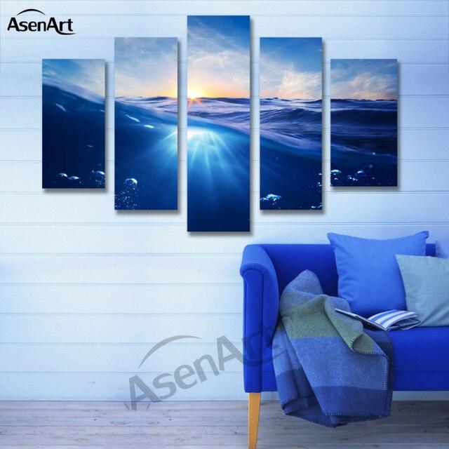Bedroom Canvas Prints 5 panel painting sunrise blue sea canvas painting seascape picture