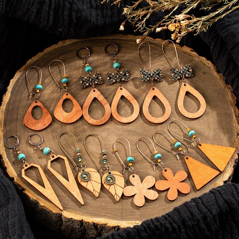 Multi 2019 Ethnic Geometric Wood Dangle Drop Earrings for Women Sakura Cherry Flower Pendant Hanging Jewelry Accessories Gift