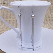 ANENJERY – bijoux de mariée en argent Sterling 925, longues boucles d'oreilles à pampilles, pour femmes