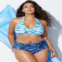 Bikinis 2018 Big Size Split Swimwear High Waist Swimsuit Large Print Halter Women Push Up Bathing Suit 4XL