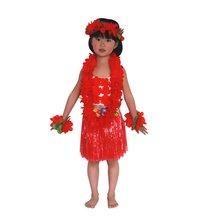 New Child Kids Lovely Cute 6 PCS Hawaiian Grass Skirt Flower Hula Garland Dance Dress Sets