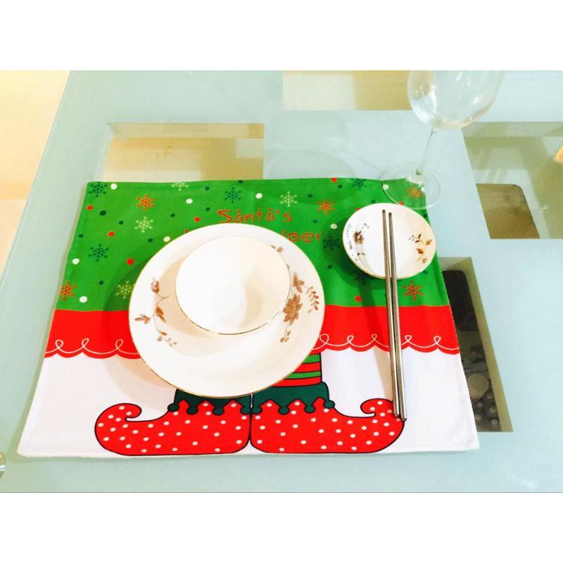 Santas Little Helper Printing Table Placemat Christmas Desktop Decoration Tableware Mat Christmas Gift Heat Insulation Pad New