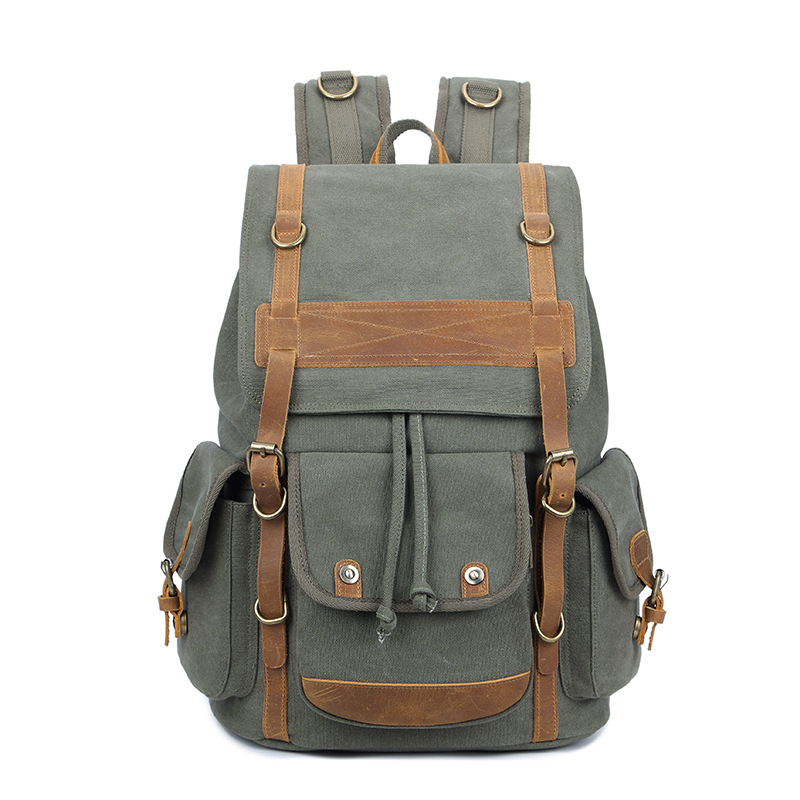 Dropship Canvas Leather Rucksacks for Teenagers Vintage Canvas Laptop Backpacks Huge Capacity Traveling Daypacks Rivets Mochila