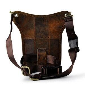 Image 2 - גברים של מטורף סוס עור זרוק רגל תיק פאני חבילת מותן ירך היפ Bum חגורת שליח כתף תיק נסיעות אופנוע