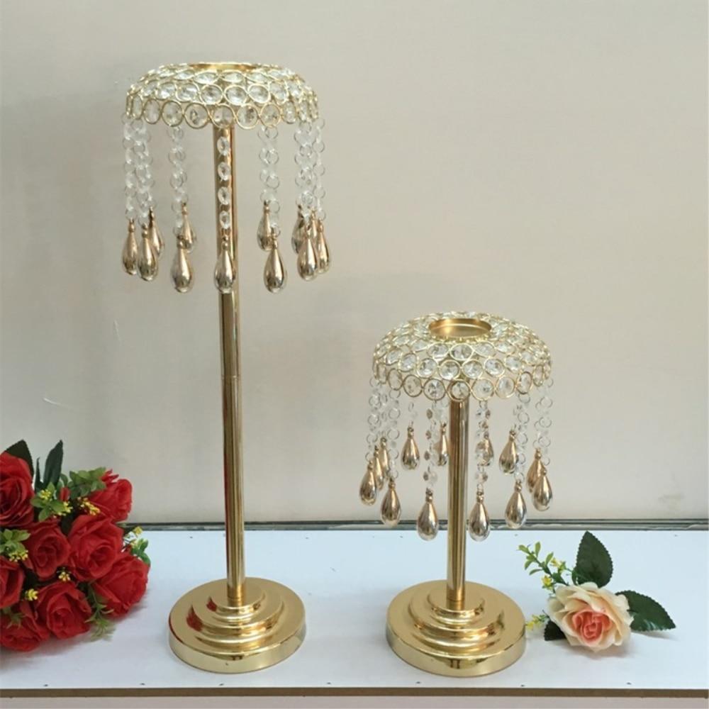 Golden Candle Holder Crystals Wedding Table Candelabra/ Centerpiece ...