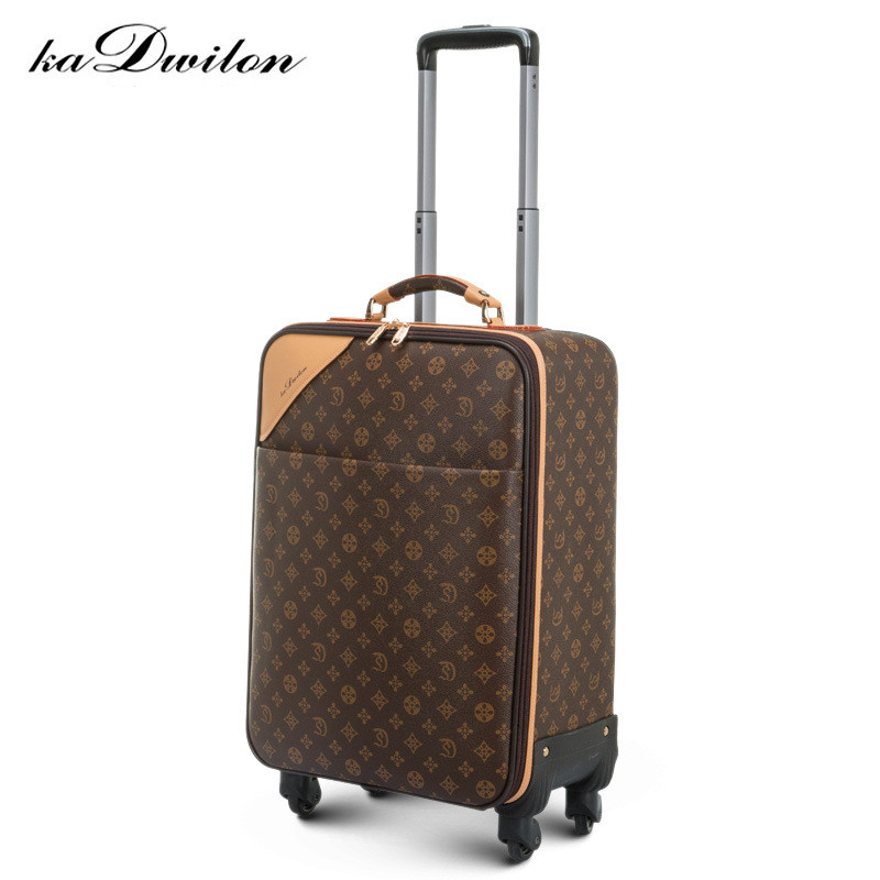 Fashion Leather PVC Luxury Men Women Rolling Luggage Suitcase Designer 22 Inches High Quality 4 Wheels Spinner Airport Luggage