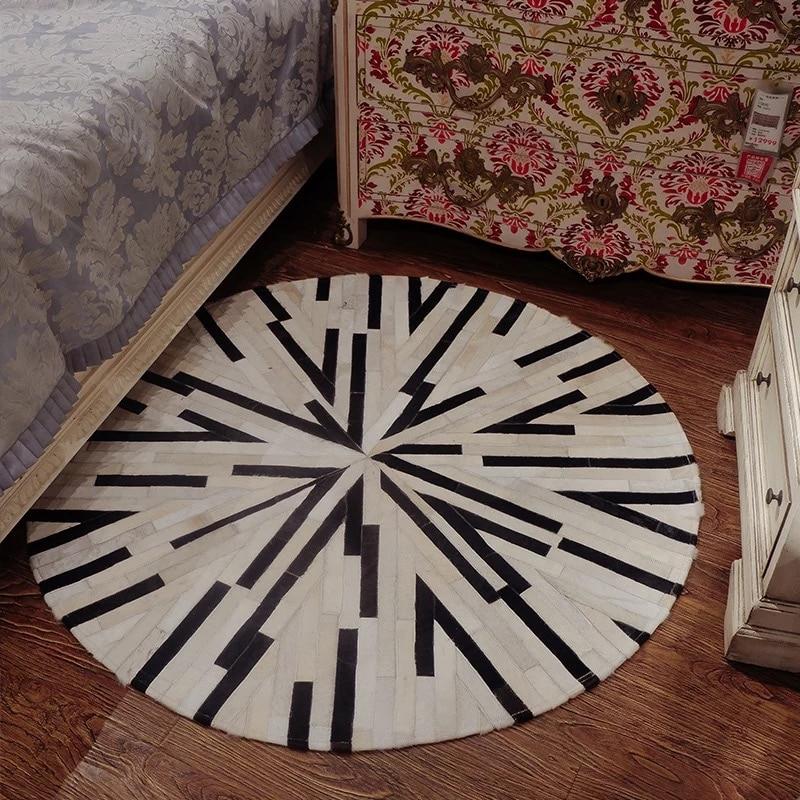 Vestiaire nordique chambre tapis rond fait main couture peau de vache tapis mariage chambre peigne miroir chambre bordure tapis
